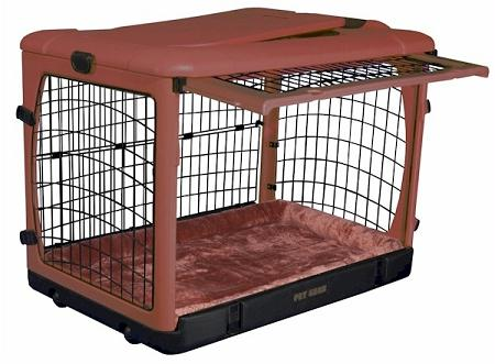 Deluxe Steel Dog Crate With Bolster Pad Large Brick